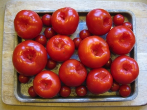 Raw, de-stemmed tomatoes on toaster-oven pan